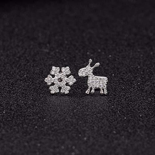 LPOHNFGH Ohrringe S925 Sterling Silber Schneeflocke Elch Ohrringe weiblichen Diamanten Ohrstecker niedlichen Mini Ohrringe - Schneeflocke Cuff Ear
