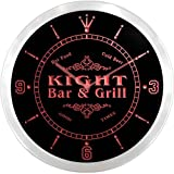 ncu23274-r KIGHT Family Name Bar & Grill Cold Beer Neon Sign LED Wall Clock