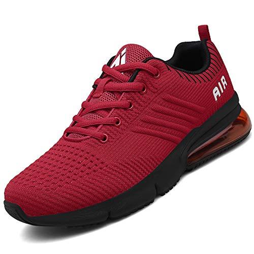 Mishansha Herren Turnschuhe Damen Laufschuhe rutschfeste Atmungsaktiv Gym Sportschuhe Outdoor Walking Leichte Sneaker Stil 2:Rot 44 EU Rot-walking-schuh