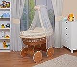 WALDIN Baby Stubenwagen-Set mit Ausstattung,XXL,Bollerwagen,komplett,18 Modelle wählbar,Gestell/Räder lackiert,Stoffe gelb/beige/kariert