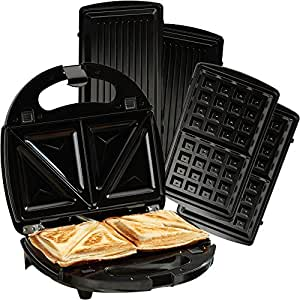 Cooks professional 750w 3 in 1 non stick sandwich waffle maker toastie grill with removable - Health grill with removable plates ...