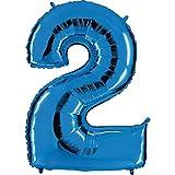 Ballon Zahl 2 in Blau - XXL Riesenzahl 100cm - für Geburtstag Jubiläum & Co - Party Geschenk Dekoration Folienballon Luftballon Happy Birthday