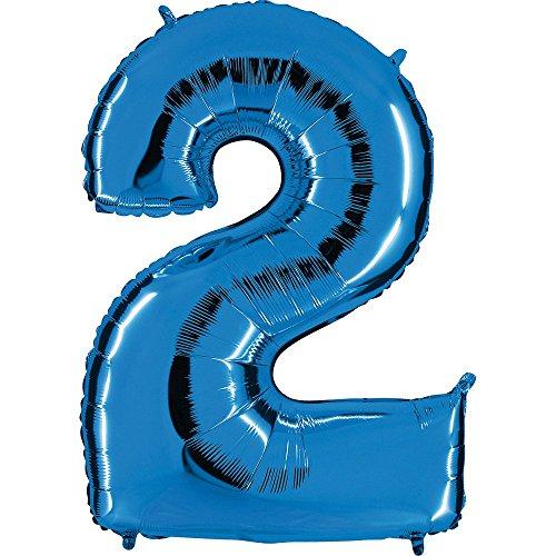Ballon Zahl 2 in Blau - XXL Riesenzahl 100cm - für Geburtstag Jubiläum & Co - Party Geschenk Dekoration Folienballon Luftballon Happy Birthday (Party 2. Dekorationen Geburtstag)