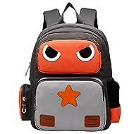 AnKoee Sac à Dos Enfant Sac Cartable Sac Ecole Sac Scolaire Enfant Garçons Filles (Orange/Gris)