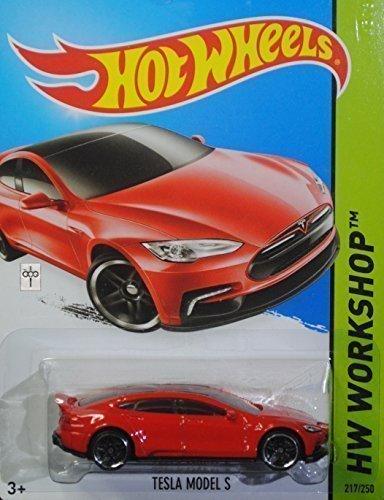 Hot Wheels, 2015 HW Workshop, Tesla Model S [Red] Die-Cast Vehicle #217/250 by Hot Wheels
