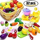 Airlab Cuisine Jouet pour Enfants 32 Pièce Ustensiles De Cuisine Coupe Fruits Légumes Nourriture, Cuisine Jouet Rôle Jouer Jeu Éducatif Cadeau