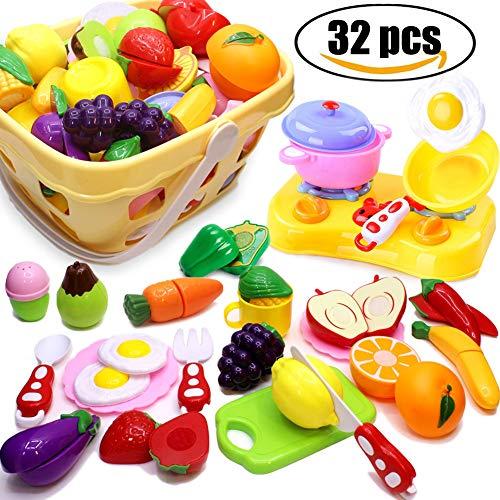 Airlab Küchenspielzeug für Kinder 32 Stück Geschirr Schneiden Obst Gemüse Lebensmittel, Küche Spielzeug Rollenspiel Lernspielzeug Geschenk