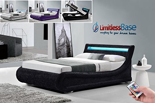 Stunning Rio LED Crushed Velvet Ottoman Upholstered Chenille Fabric Designer Storage Bed Frame 4ft6 Double 5ft King 3 Colours By Limitless Base