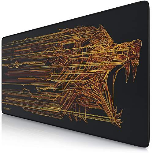 Titanwolf - XXL Tappetino per Mouse da Gioco   Gaming Mousepad Super Grande 900 x 400mm   Pad con Base in Gomma Antiscivolo   Spessore 3mm   Modello: Orange Lightning
