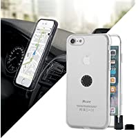 c19104532fd STIKGO Funda de iPhone 8 y 7 Transparente con Soporte Magnético para Coche,  Incluye Pinza