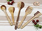 #7: Wood Art Store Pebble Crafts Handmade Wooden Serving And Cooking Spoon Kitchen Tools Utensil, Set Of 5