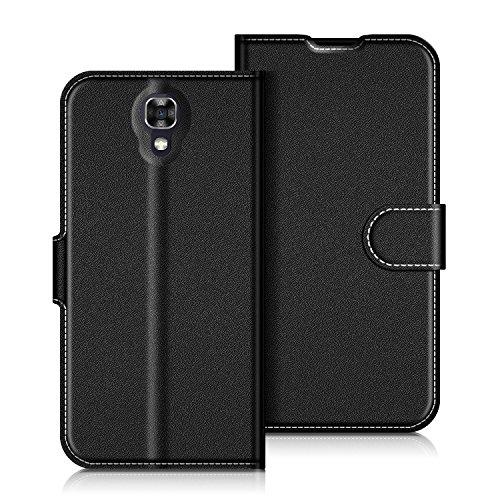 Coodio LG X Screen Hülle Leder Lederhülle Ledertasche Wallet Handyhülle Tasche Schutzhülle mit Magnetverschluss / Kartenfächer für LG X Screen, Schwarz