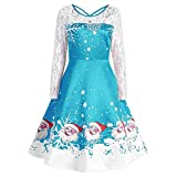OSYARD Christmas Kleid Dress Damen,Weihnachten Vintage Abendkleid, Frauen Weihnachten Print Partykleid Evening Mini Dress Retro Spitze A-Line Kleid Langarm Swing Kleid(L, Blau)