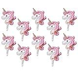 Dolity 10 Pedazos Globo de Aluminio Diseño Unicornio Celebraciónes de Cumpleaños Decoración de Fiesta Suministros - Rosa