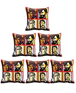 Indistar Micro Polyester Digital Printed Cushion Cover Combo (Pack of 6 Cushion Cover)(Size- 16X16 Inches)