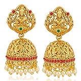 #9: Meenaz Temple Jewellery Sets Traditional Matte Gold Pearl Stylish Ruby Green Laxmi Jhumka/Jhumki Earrings for women/girls-Jhumki earrings-348