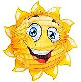 alles-meine.de GmbH 3-D Effekt _ Papier Laterne / Lampion -  lachende Sonne - Rund  - für Kinder..