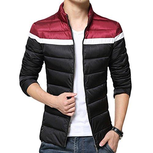 Zhuhaixmy Zauber Mens Winter Farbe Baumwolljacke Kragen-dünne starke warme Mantel-Reißverschluss-Oberbekleidung Cotton Jacket Coat Black