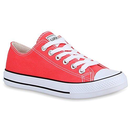 Stiefelparadies Damen Sneakers Turn Freizeit Low Sneaker Übergrößen Prints Glitzer Denim Schuhe 27920 Coral Ambler 38 Flandell
