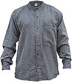 shopoholic Mode Hommes RAYURE hippie grand-père chemise - Bleu Gris, XX-Large...