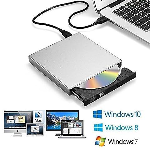 Zacfton Externes CD DVD Laufwerk USB 2.0, CD-RW DVD-R CD Brenner für Laptop Notebook PC Desktop (Laptops Desktop-computer)