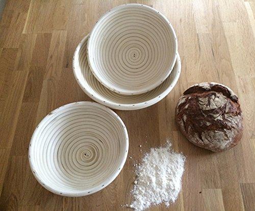 Sugar and Cakes Gärkörbchen Set 3 TLG. GÄRKORB rund 0,7-1,5 kg Brotteig Gärkörbe Korb Brotform Peddigrohr