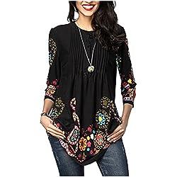 Minasan Damen Sommer Mode 3/4 Arm Blumen Print Rüschenhemd Sommer Lässige Blusenshirt Tops XL