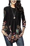 Minasan Sommer Frauen Retro Blumen Muster 3/4 Arm T-Shirt Schwarz V-Neck Pleated Langes Bluse Oberteile mit Taste L