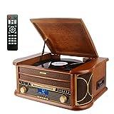 MUSITREND Tocadiscos (33 / 45 / 78 RPM) estéreo de 3 velocidades con Altavoces incorporados, Marrón Sistema de Audio para el hogar (Bluetooth, Dab/FM Radio, Analógico, LCD, MP3, WMA, CD de Audio)