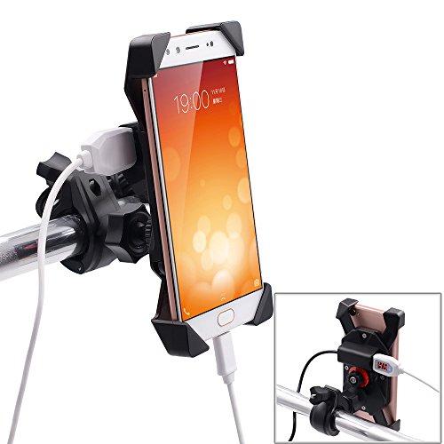 Samoleus Fahrrad Handyhalterung Smartphone Verstellbar Handyhalter mit 2.1A USB Ladegerät, 360 Grad Drehbar Elektronische Fahrrad Motor