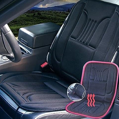 lerysox (TM) Tirol 12V caldo riscaldato Seggiolino Auto riscaldamento cuscino Coprisedile Universale Nero Hot riscaldante per interni stile