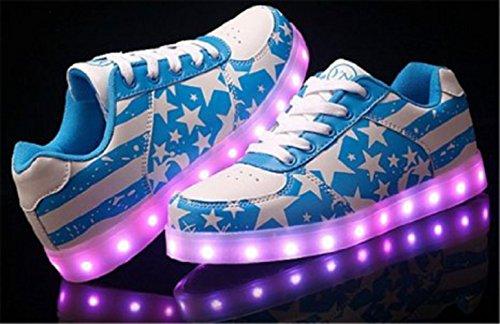 (Présents:petite serviette)JUNGLEST® Gogoo Club 7 Couleur Mode Unisexe Homme Femme USB Charge Lumière Lumineux Chaussures de marche LED Ch Azur