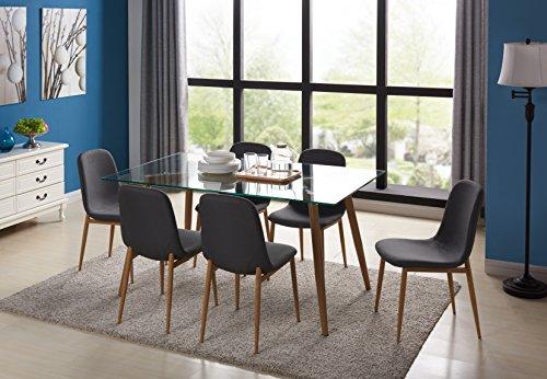 Essgruppe Glastisch und Esszimmerstühle 42 x 57.5 x 79 cm Esszimmertisch 130 x 80 x 75 cm (6...