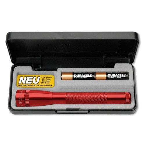 Mag-Lite SP22037F Mini Maglite 2AA Multimode Hochleistungs-LED-Taschenlampe, 17 cm rot inkl. 2 Mignon-Batterien im Etui
