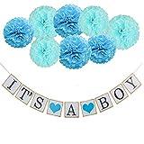 thematys Its a Girl | Boy Deko Girlande - perfekt als Dekoration für Babyparty - Deko-Set für Junge & Mädchen mit Pompoms in rosa und blau