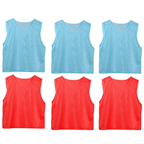 VORCOOL 6 Stücke Kinder Fußball Training Team Praxis Westen T-Shirt Mesh Sleeveless Tank Top (Rot und Hellblau) - Team-trainings-t-shirts