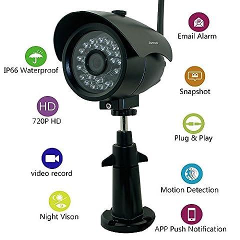 Sumpple S631 Caméra IP de surveillance WiFi/Filaire 720P Extérieur/Intérieur, Vision nocturne, IP66 Waterproof, Sauvegarde Vidéo, Instantané, Détection de mouvement, Email Alarm, Visionnage à Distance sur Smartphone/Tablette/PC Noir