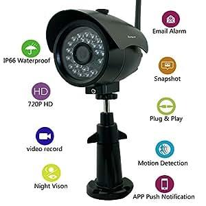Sumpple IP Network Camera Wifi Wireless/Cablato Video Digitale 720P Esterno/Interno, Visione Notturna, IP66 Impermeabile, Registrazione Video, Cattura Schermate, Rilevamento Movimento, Allarme Email, Supporto IOS, Android o PC Nero