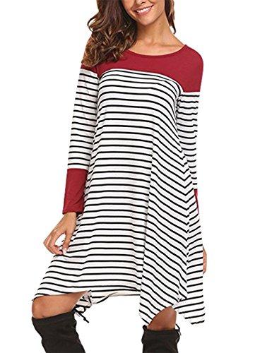 Slivexy Damen Gestreift T-Shirt-Kleid Oversize Longshirt mit Rundhals Asymmetrischem Saum Rot