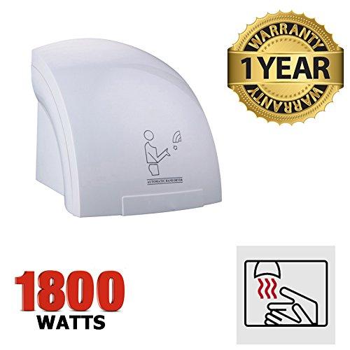 Automatischer elektrischer Händetrockner 1800Watt Modern geschwungenen Design ideal Waschräume, Toiletten, Badezimmer. Restaurants Bars Cafés–Schnell trocknend Warm Air 20–30Sekunden–Qualität–1Jahr Garantie