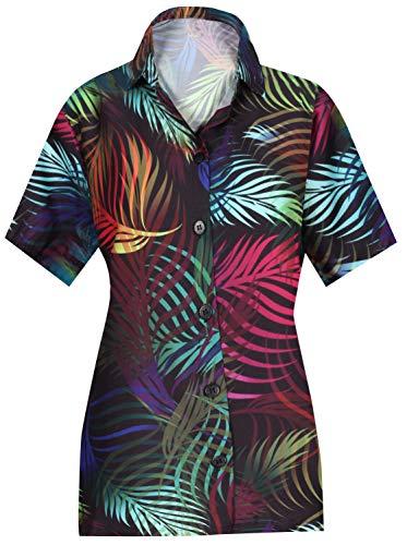 LA Leela Sommer Kragen-Shirt für Frauen Plus Größe Blatt gedruckt Aloha Schwarz_AA95 XXL - DE Größe :- 50-54