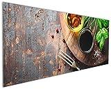 Wallario Küchenrückwand aus Glas, in Premium Qualität, Motiv: Kräuter (Basilikum, Schnittlauch), Öle und Gewürze auf Holzbrett in der Küche | Spritzschutz | abwischbar | Pflegeleicht