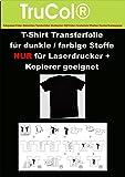 10 Blatt DIN A4 T-Shirt Folie Transferfolie Transferpapier für dunkle Textilien LASERDRUCKER Kopierer - Zum Heißtransfer von Bildern und Schriftzügen auf Schwarze + farbige Stoffe + poröse Medien