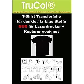 Kopierer 10 Blatt DIN A3 T-Shirt Folie Transferfolie klar//transparent f/ür HELLE//wei/ße Textilien NUR f/ür Laser DRUCKER