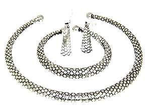 Snake Finished Banjara Silver Tone Tribal Hasli Necklace Choker Fashion Jewelry From Lazreena
