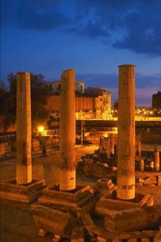 Temple Ruins in Pozzuoli Italy at Night