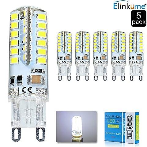 Elinkume 5X G9 Ampoule LED 5W Lumière LED 48 SMD