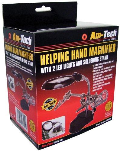 Am-Tech Ayudar Conjunto de la mano Lupa y Soldadura De pie, con Led, S2885
