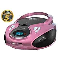 Idea Regalo - Lauson Lettore CD Bambini | CD Radio Portatili | Stereo Radio AM / FM | Boombox | USB | CD / MP3 Player | AUX IN | LCD-Display | CP438 (Rosa)