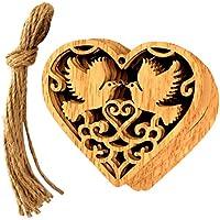 Vosarea 10 UNIDS de Madera Ornamento Colgante de La Boda Decoración Hecho A Mano en Forma de Corazón En Forma de Amor de Las Aves Ornanment Arts Craft Regalo Para La Boda Cumpleaños Chritsmas Decoración Del Partido
